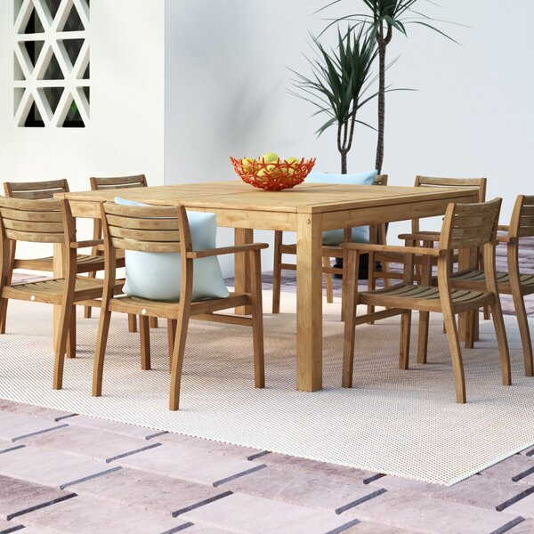 Elsmere 9 Piece Teak Dining Set by Beachcrest Home