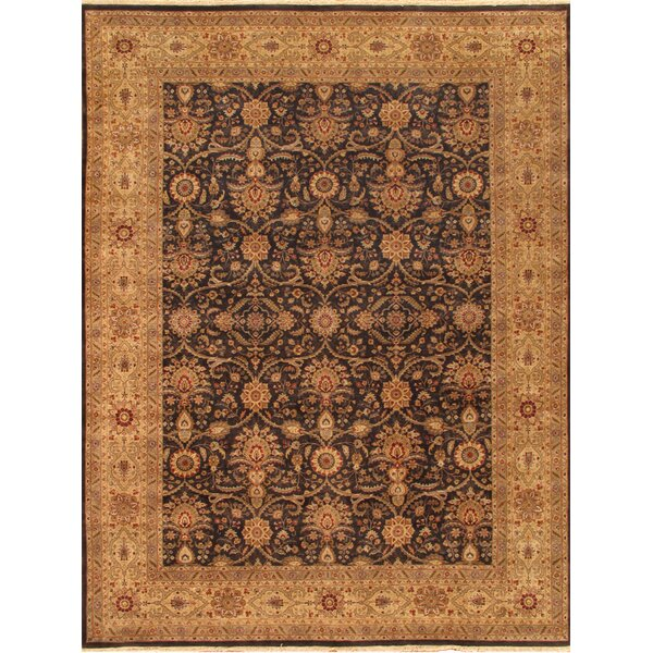Tabriz Hand-Knotted Black/Gold Area Rug by Pasargad