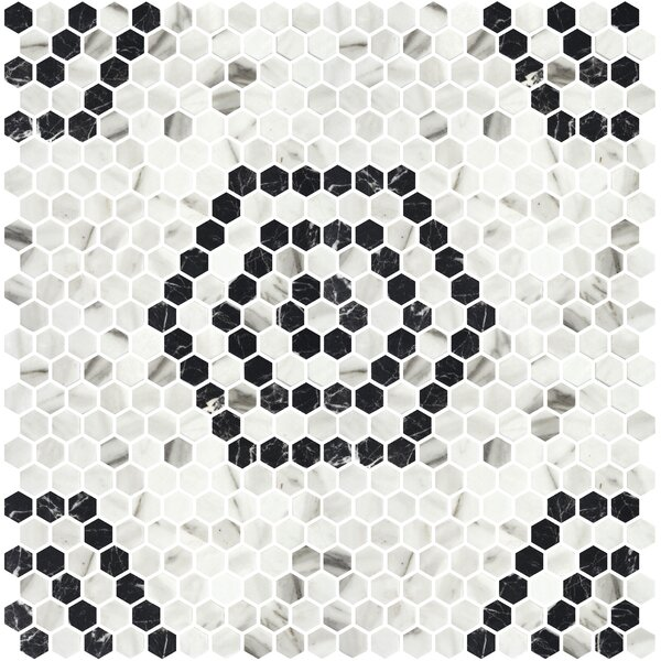 Onix 1 x 1 Glass Mosaic Tile in Black/Silver by Madrid Ceramics