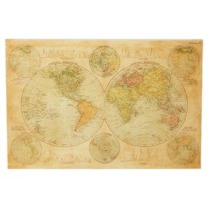 'Hemispheres Map 1891' Graphic Art on Wrapped Canvas by Three Posts