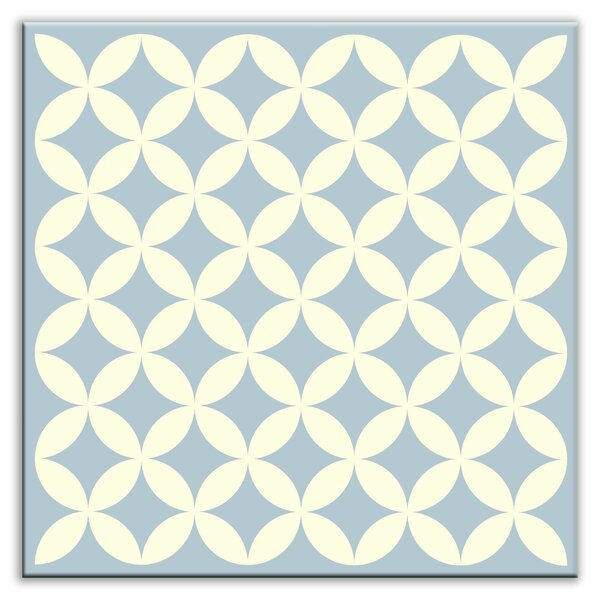 Folksy Love 4-1/4 x 4-1/4 Glossy Decorative Tile in Needle Point Blue Gray by Oscar & Izzy
