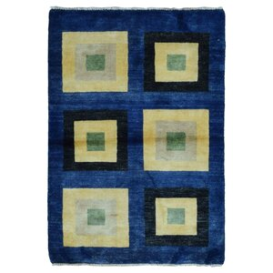 Evan Gabbeh Hand-Woven Wool Blue Area Rug