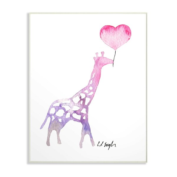 Fegan Watercolor Balloon Giraffe Decorative Plaque by Harriet Bee