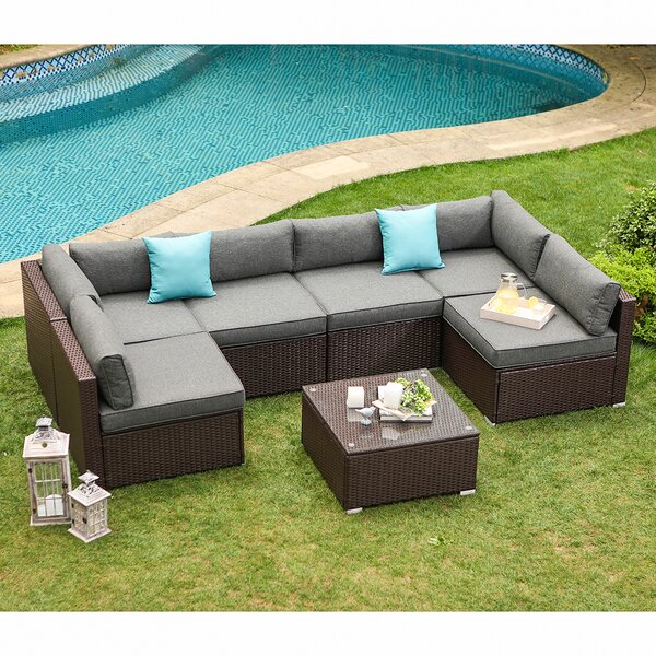 Bozman 7-Piece Outdoor Patio Furniture Chocolate Brown Wicker Sofa W Dark Grey Cushions, Coffee Table, 2 Turquoise Pillows Incl. Waterproof Cover by Wrought Studio
