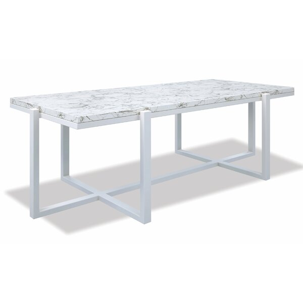 Rectangle Coffee Table With Honed Carrara Marble Top Frost by Sunset West