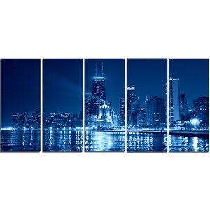 Blue Chicago Skyline Night 5 Piece Wall Art on Wrapped Canvas Set by Design Art