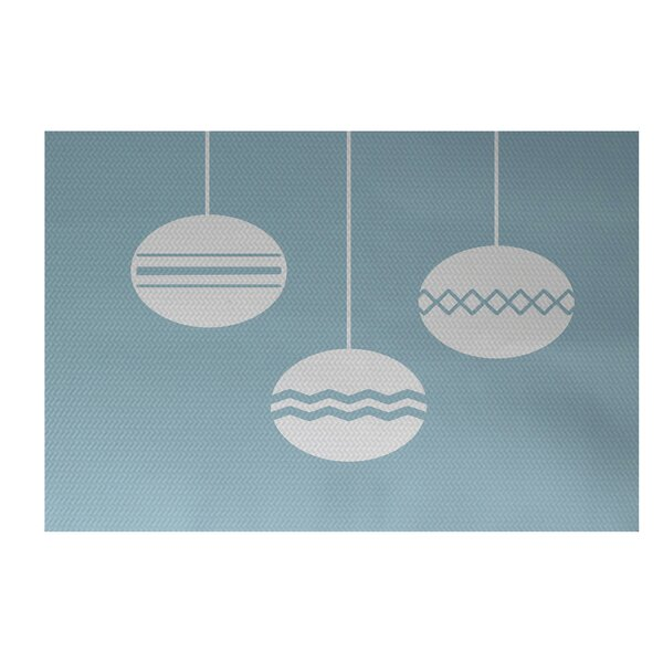 Geo-Bulbs Decorative Holiday Print Light Blue Indoor/Outdoor Area Rug by The Holiday Aisle