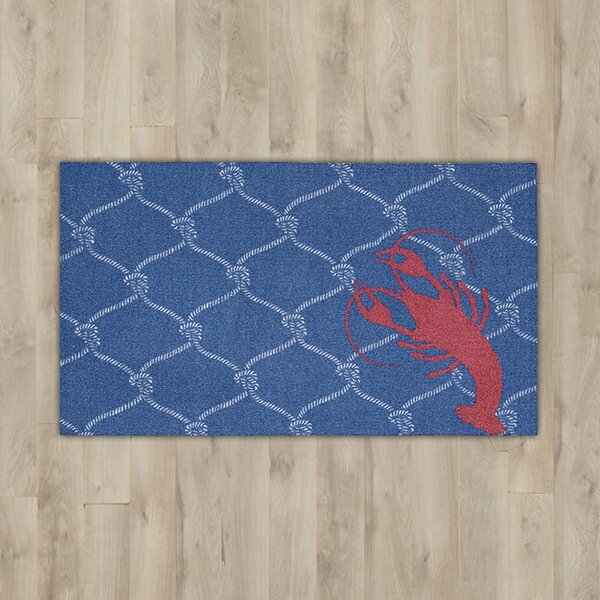 Orton Navy/Red Lobster Area Rug by Breakwater Bay