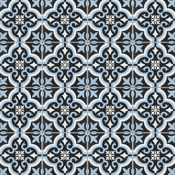 Lima 7.75 x 7.75 Ceramic Field Tile in Blue/Black by EliteTile