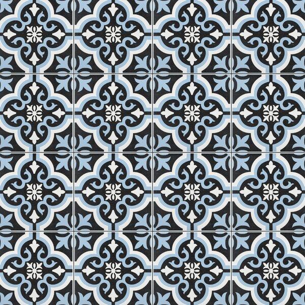Lima 7.75 x 7.75 Ceramic Field Tile in Blue/Black
