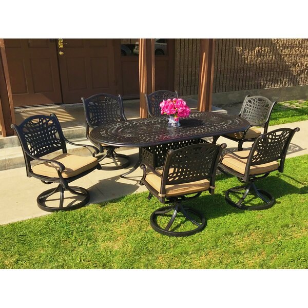 Campion 7 Piece Sunbrella Dining Set with Cushions by Fleur De Lis Living