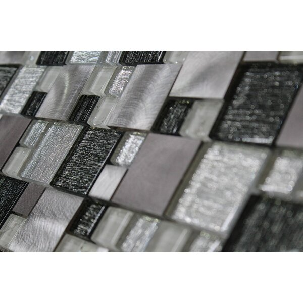 Twilight Random Sized Glass/Aluminum Tile in Black/White by WS Tiles