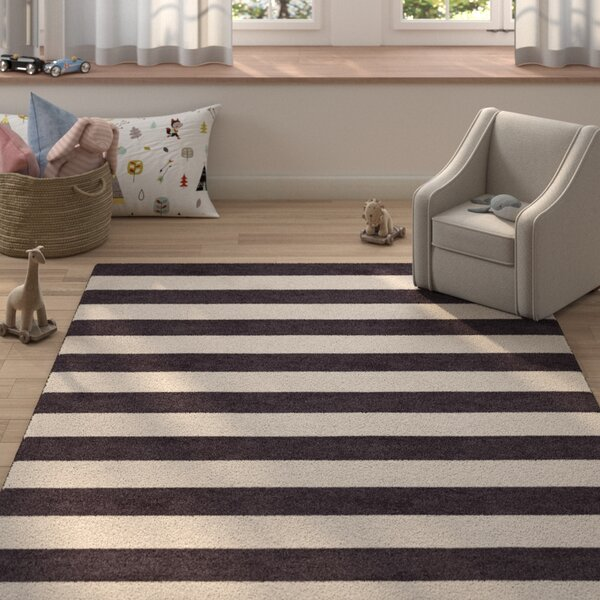 Critchfield Stripe Hand-Tufted Wool Silver/Charcoal Area Rug by Harriet Bee