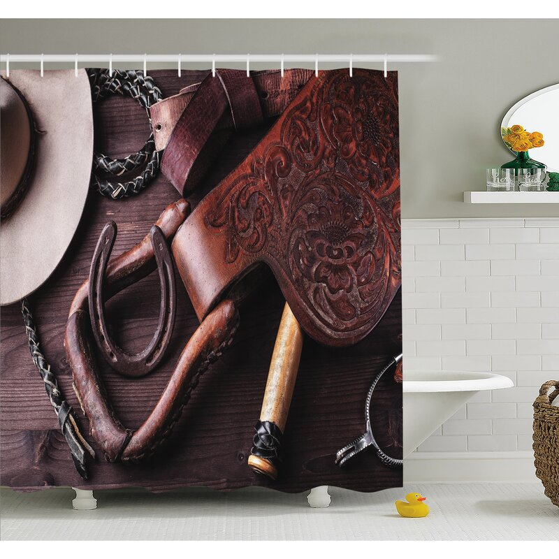 AmbesonneWestern Clothes And Accessories For Horse Riding With Kitsch Details Rural Sports Themed Shower Curtain Set
