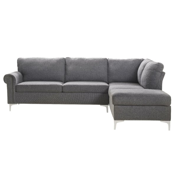 Hilltop Fabric Upholstered Wooden Sectional by Wrought Studio