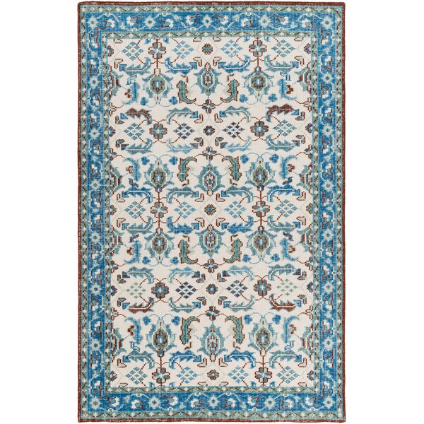 Heerhugowaard Hand-Knotted Blue Foam Area Rug by Bungalow Rose