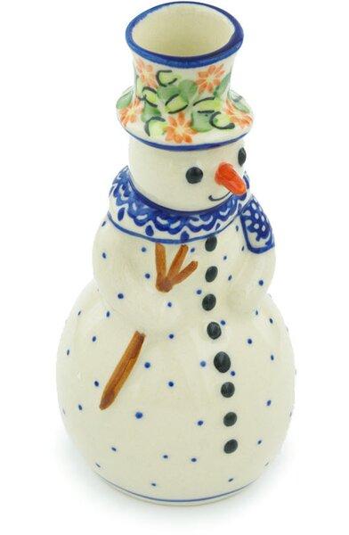 Elegant Garland Snowman Porcelain Candlestick by Polmedia