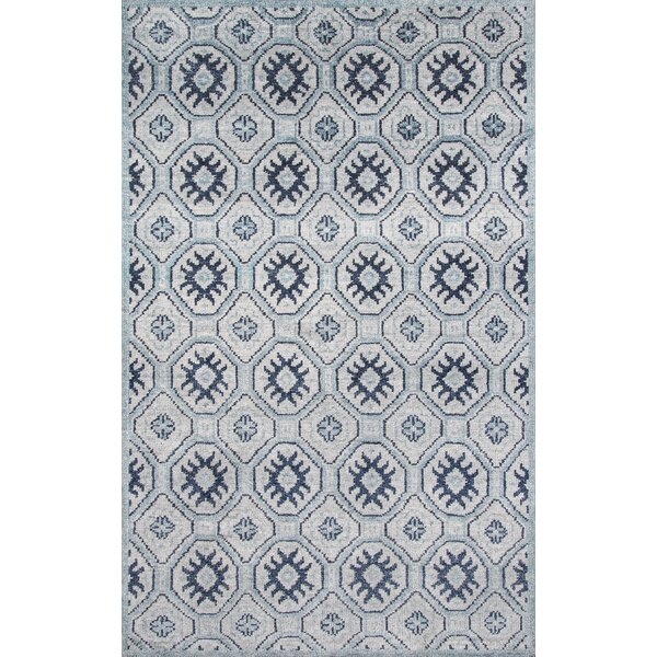 Zoey Hand-Knotted Blue/Gray Area Rug by Bungalow Rose