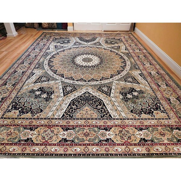 Ries Living Room Hand-Knotted Silk Green/Beige Area Rug by Bloomsbury Market