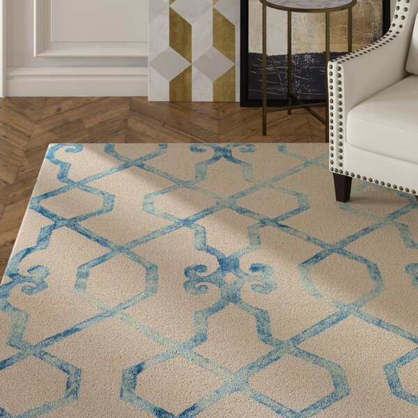 Sandhill Hand-Tufted Ivory/Blue Area Rug by Mercer41