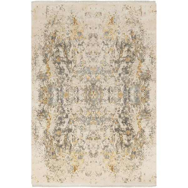 Daniella Hand-Knotted Medium Gray/Camel Area Rug by Bungalow Rose
