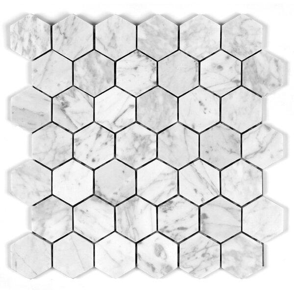 Bianco Carrara 2 Honey Comb Mosaic Tile by Seven Seas