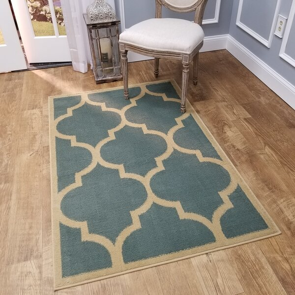 Kinner Moroccan Trellis Teal/Blue Area Rug by Charlton Home
