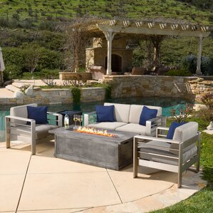 Durbin 4 Piece Fire Pit Seating Group With Cushions