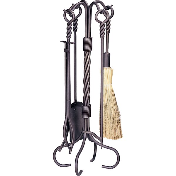 Ring Swirl Hand 5 Piece Iron Fire Tool Set By Uniflame