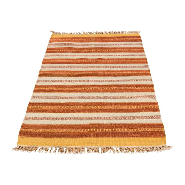 Flat Weave Durie Kilim Hand-Knotted Orange/Ivory Area Rug by Bloomsbury Market