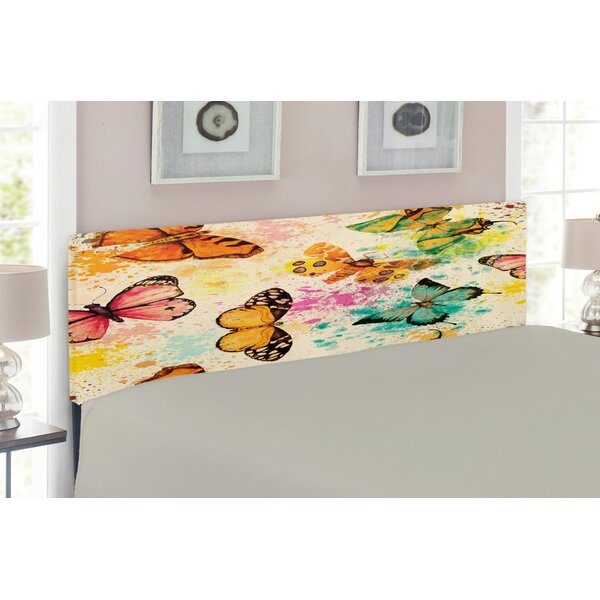 Watercolor Butterflies Upholstered Panel Headboard by East Urban Home