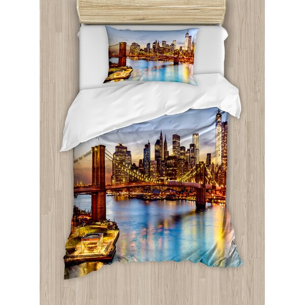 New York City Skyline Over East River Brooklyn Bridge Twilight Duvet Set by East Urban Home