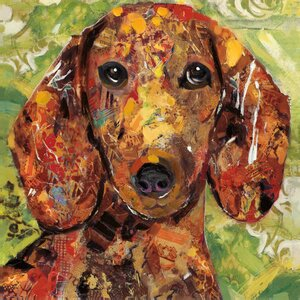 'Art Dog Dachshund' by Sandy Doonan Graphic Art on Wrapped Canvas by Portfolio Canvas Decor