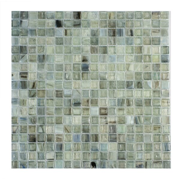 Piazza 0.5 x 0.5 Glass Mosaic Tile in Green by Byzantin Mosaic