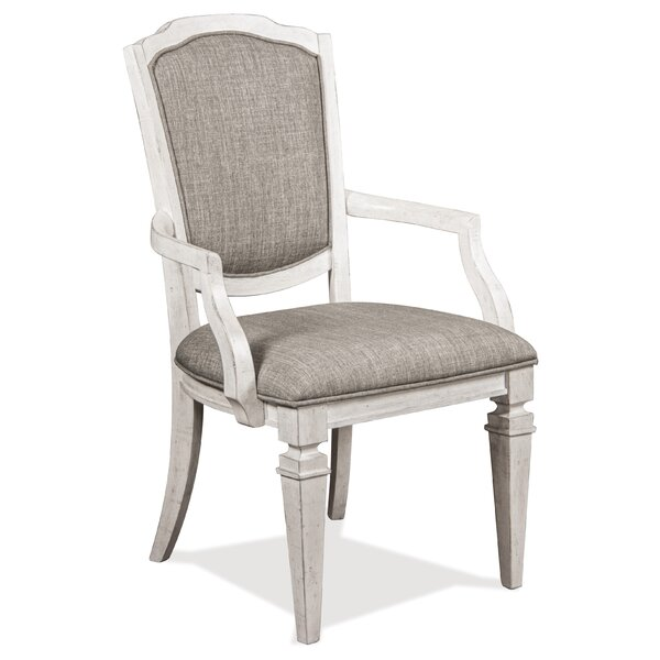 Townsend Upholstered Arm Chair In Smokey White (Set Of 2) By Rosalind Wheeler