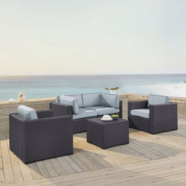 Seaton 5 Piece Rattan Sectional Seating Group with Cushions by Sol 72 Outdoor