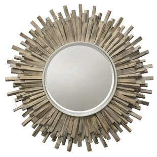 Highland Dunes Pearl Complex Wood Wall Mirror