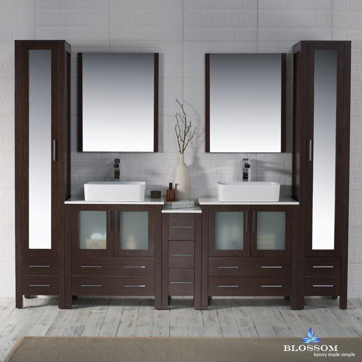 """Bathroom Plumbing 101 Interior orren ellis mance 101"""" double bathroom vanity set with mirror"""