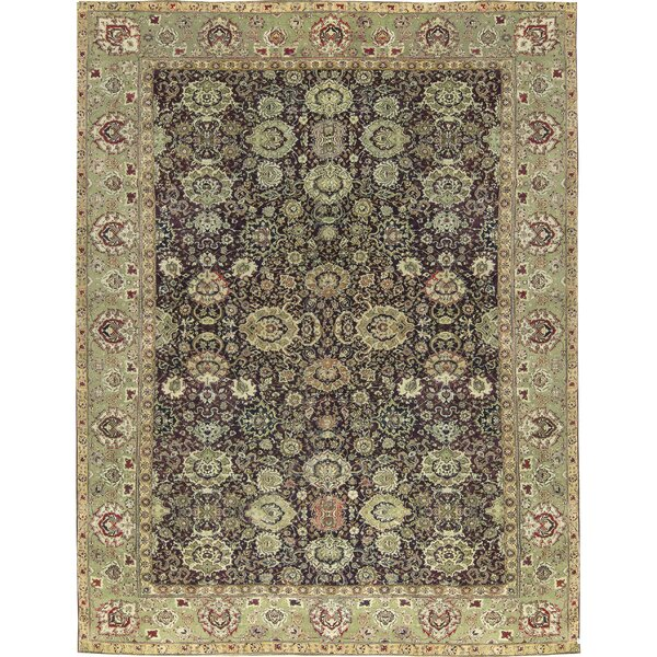 One-of-a-Kind Agra Hand-Knotted Wine/Green 14'10 x 19'3 Wool Area Rug