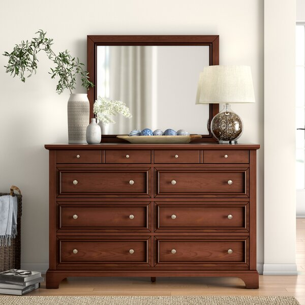 Borden 8 Drawer Double Dresser with Mirror by Three Posts