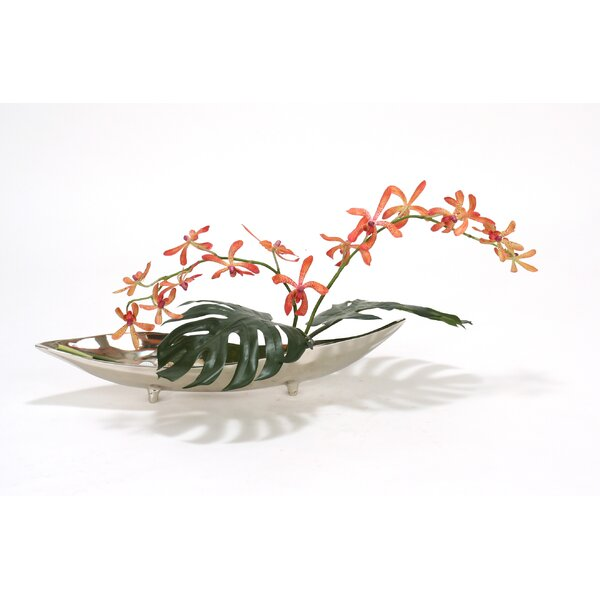 Orange Vanda Orchid with Split Philo Leaves in Metal Tray by Distinctive Designs