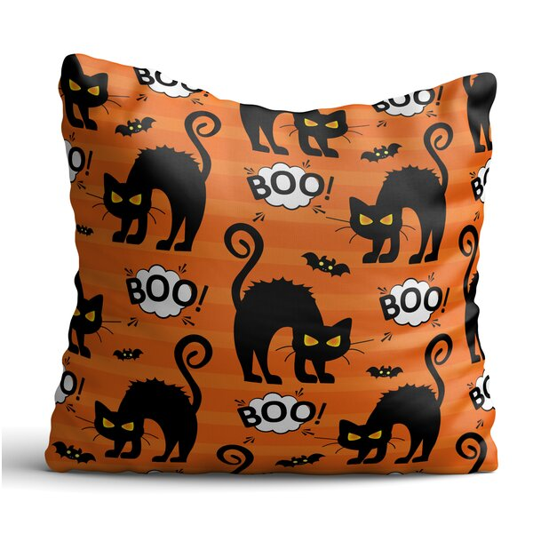 Everette Black Cats and Bats Throw Pillow by The Holiday Aisle