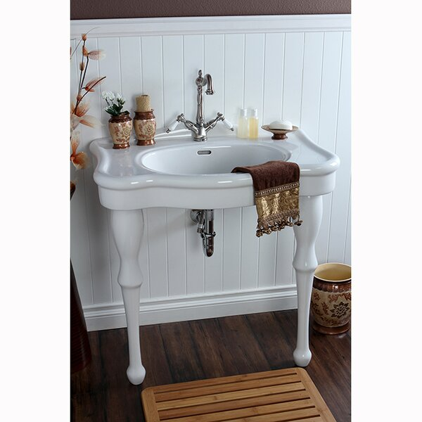 Imperial White Vitreous China Circular Console Bathroom Sink with Overflow
