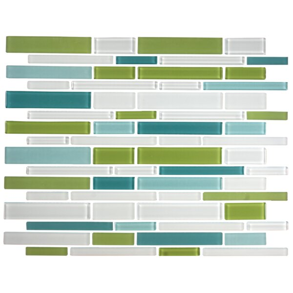 Signature Line Glass Mosaic Tile in Green/Gray/Blue by Susan Jablon