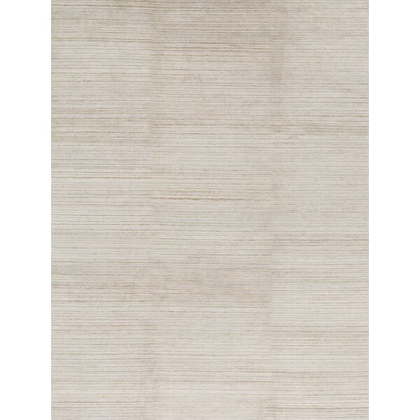 Striped Hand-Knotted Ivory Area Rug