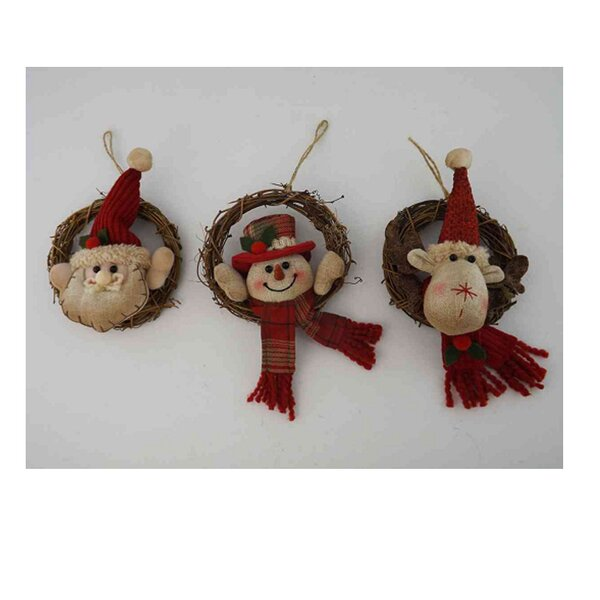 3 Piece Santa Snowman Reindeer Wreath Hanger Set by Craft Outlet
