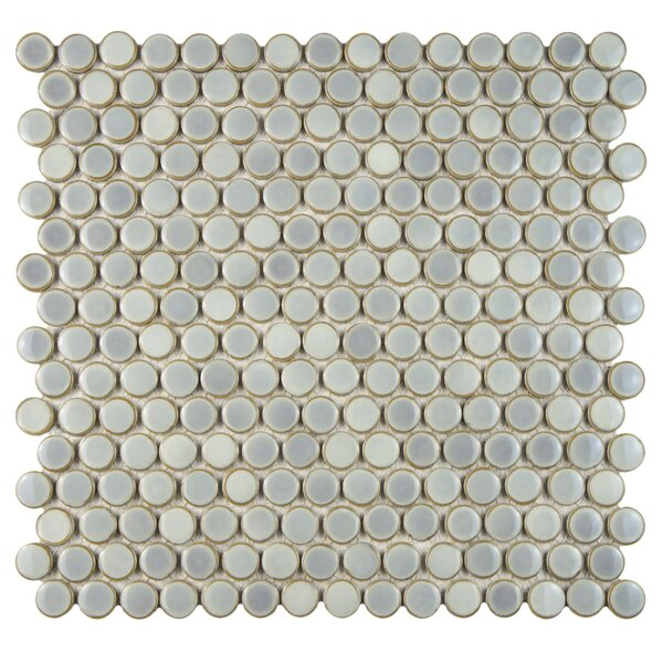 Penny 0.8 x 0.8 Porcelain Mosaic Tile in Glossy Gray by EliteTile