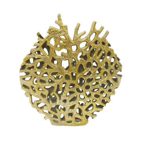 Lewter Beautiful Coral Look Metal Floor Vase by Rosecliff Heights