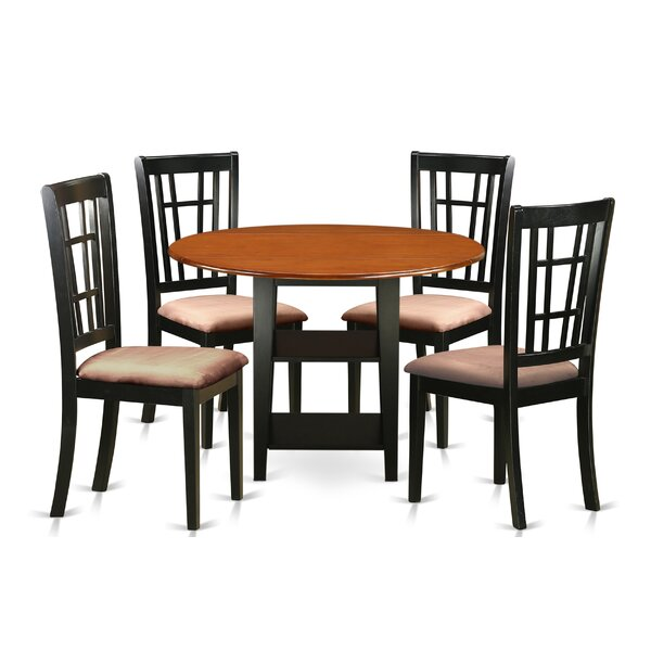 Great price Tyshawn 5 Piece Drop Leaf Breakfast Nook Solid Wood Dining Set By Charlton Home Discount