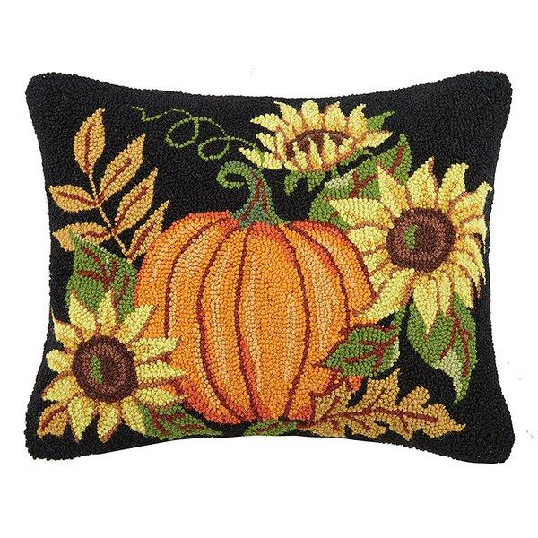 Murphree Pumpkin with Sunflowers Wool Throw Pillow by August Grove